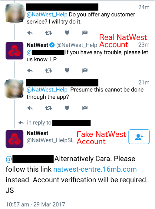 A fake account inserts itself into a conversation between a customer and the real customer services account