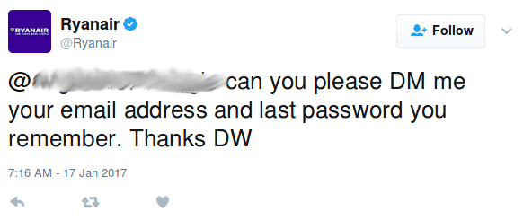 Ryanair asking for a password