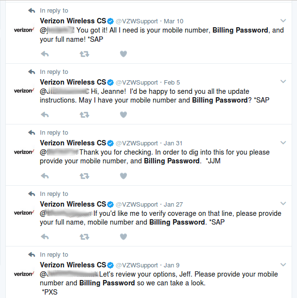 Verizon asking for customer's passwords