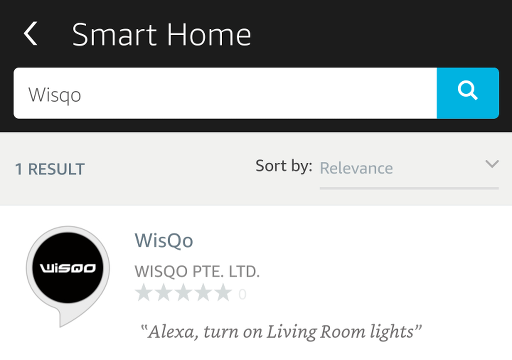 Smart Home settings page in the Echo app