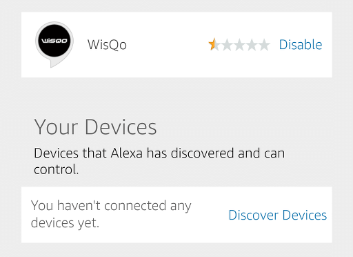A page in the app telling the user to discover some devices