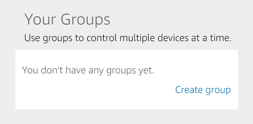 Another page in the app for setting up groups of devices