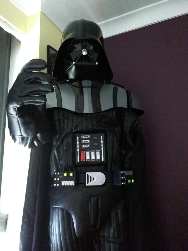 Vader towering ominously over the camera