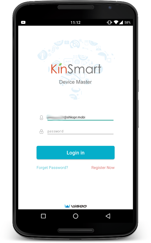 The login screen to the app, the username is prefilled.