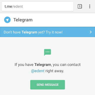 The telgram website attempts to redirect the user to the app