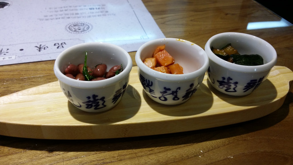 Chinese pickles set out in three separate bowls