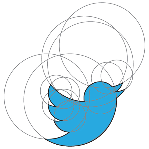 The Twitter logo drawn in circles.