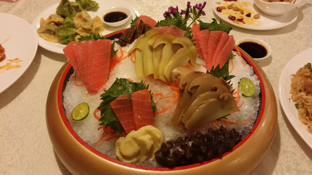 Vegetarian sashimi on a bed of ice.