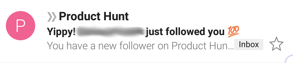 Product Hunt email announcing a new follower