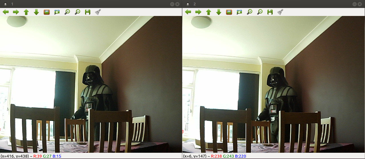 Screenshot of Ubuntu showing left and right images from 3D camera
