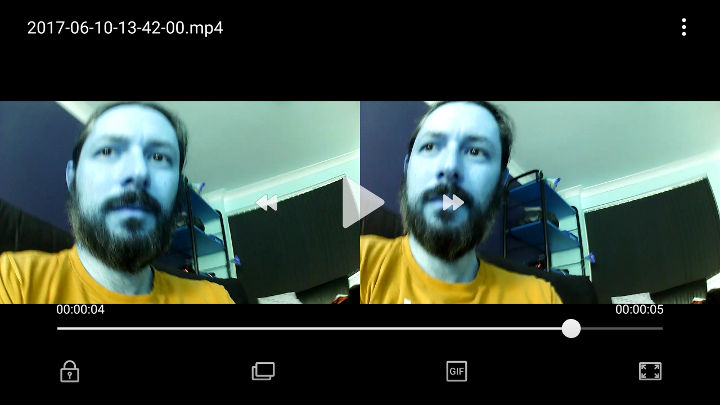Screenshot of a video with weird inverted colours