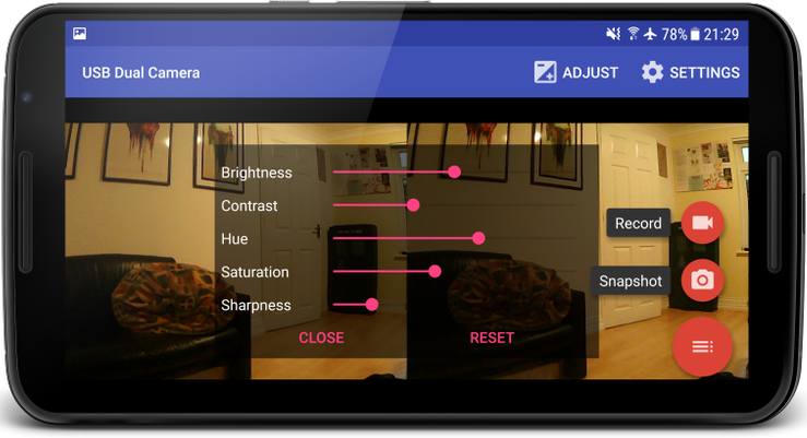 Screenshot of an Android app displaying two cameras and a host of options