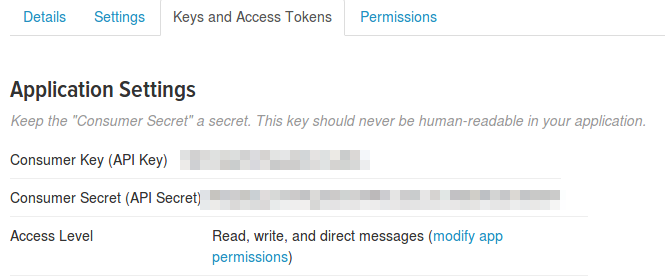 A screenshot of teh Twitter website showing application keys