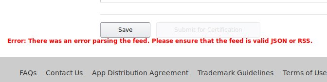 """An error message just says """"There is an error parsing the feed"""""""
