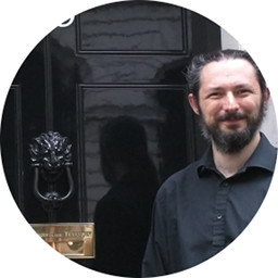 Terence at Number 10 - the door number is obscured as is part of his face because the photo has been cropped in a circle