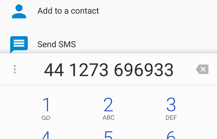 The Android phone dialer screen - the telephone number is pre-filled