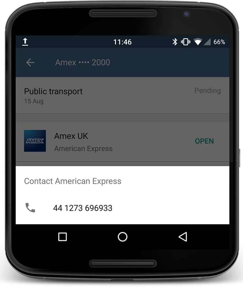 Screenshot of the Android Pay app - the American Express phone number is formatted incorrectly.