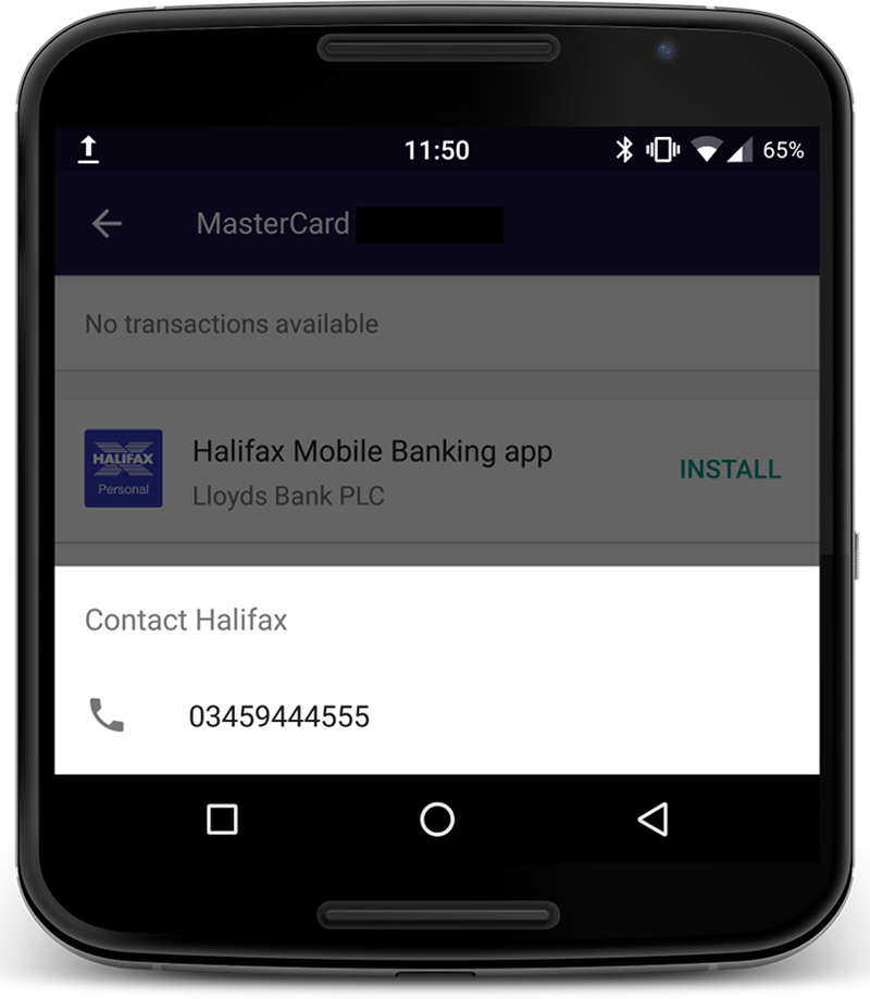 Screenshot of the Android Pay app - the Halifax credit card is showing the correctly formatted phone number