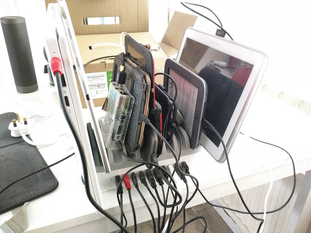 A Raspberry Pi mini-computer is plugged in
