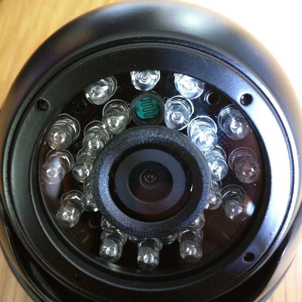 Close up on camera lens, sensor, and IR LEDs