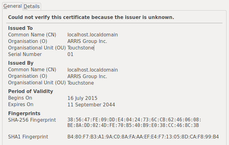 An untrusted SSL certificate