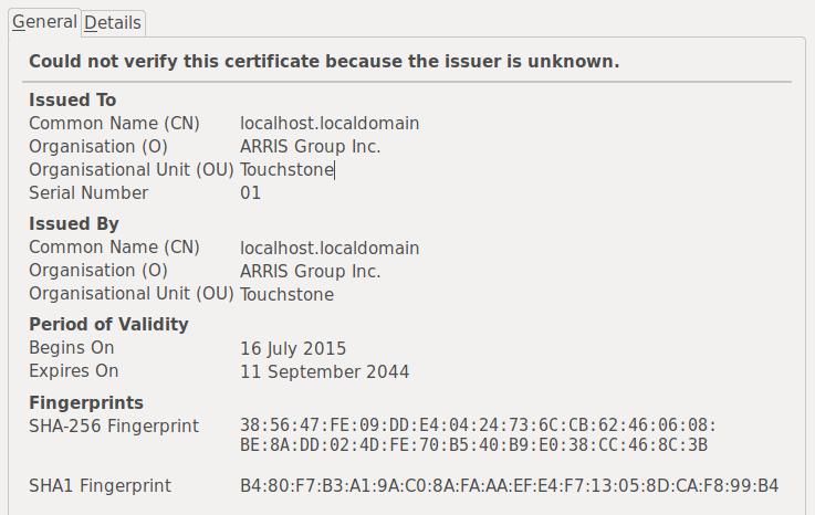 An untrusted SSL certificate