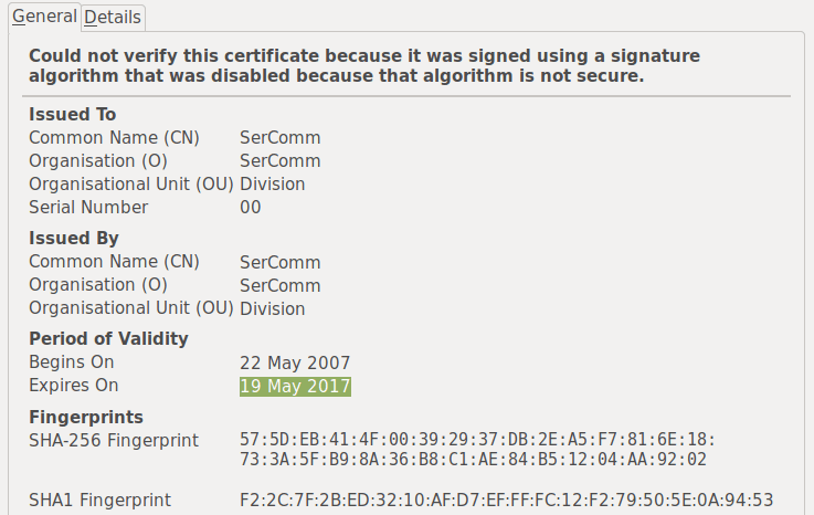 An SSL certificate which expired in May 2017
