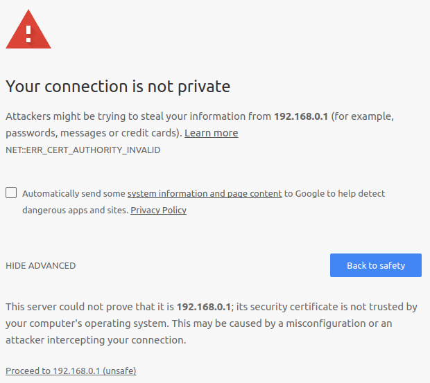 An error message in the browser warning of an unsafe SSL connection