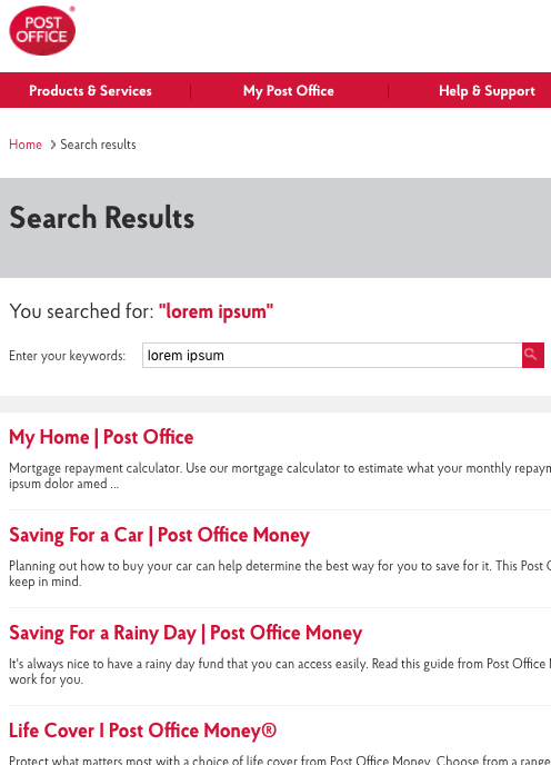 Screenshot of the Post Office website showing lots of seemingly unrelated pages