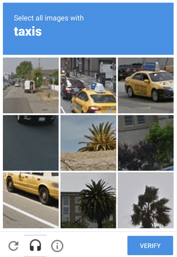 A grid of images, some of them have photos of American taxis, some have photos of trees.