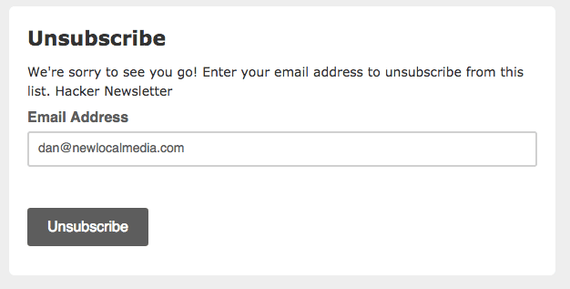 Unsubscribe link showing full email address