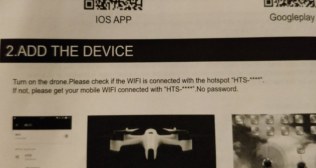 Instruction manual - wifi for the drone has no password