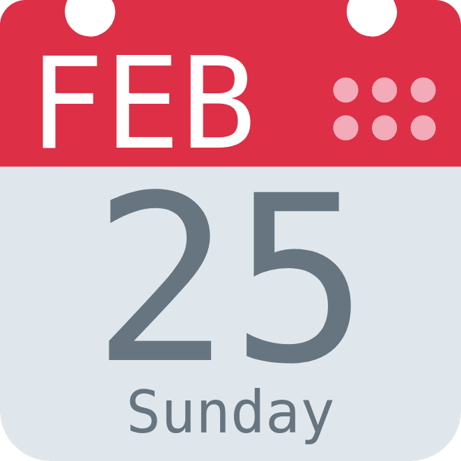 "A graphic of a calendar showing the date ""February 25 Sunday"""