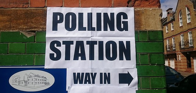 "Photo of a polling station sight. Taken by ""Descrier"" with URL descrier.co.uk"