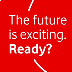 "The Vodafone logo with the text ""The future is exciting. Ready?"""