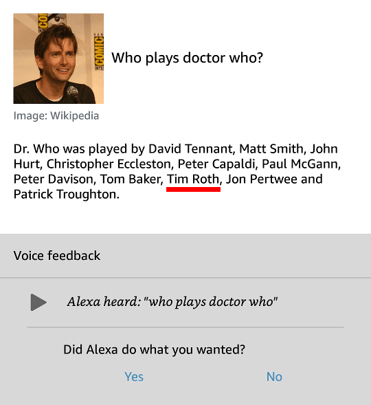 Screenshot of the Alexa app. She thinks Tim Roth played Doctor Who.