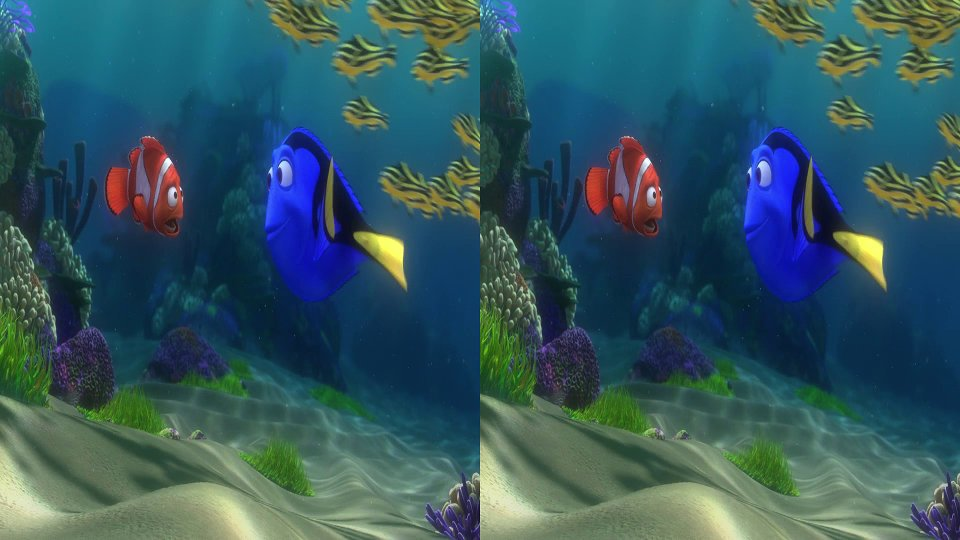 Still from the moview Finding Nemo. The image is split side by side.