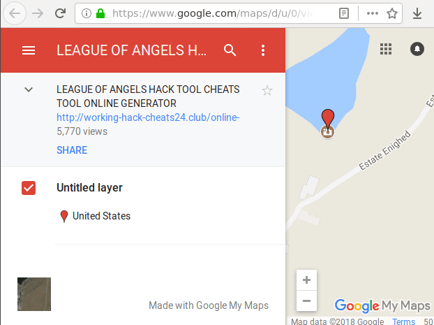 Google My Maps page with spam content.