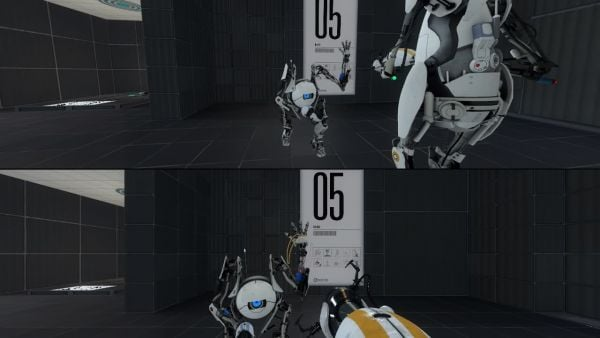 "Video game ""Portal 2"". The screen is split vertically."