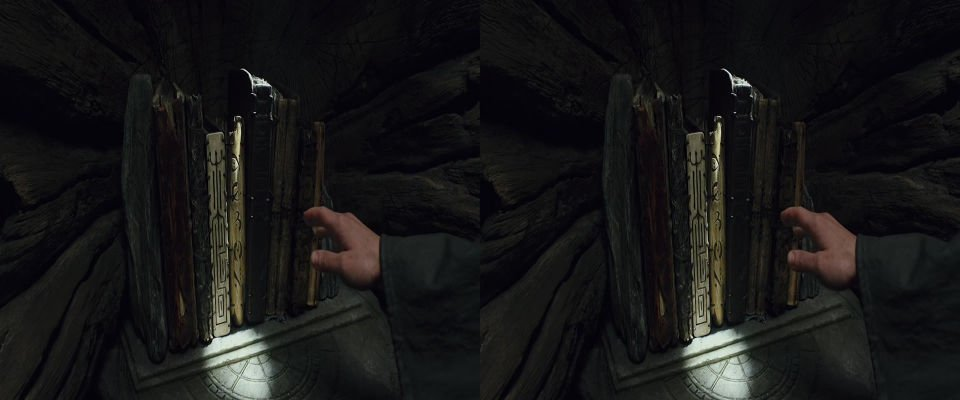 A stereo image pair. A hand reaches for some books.