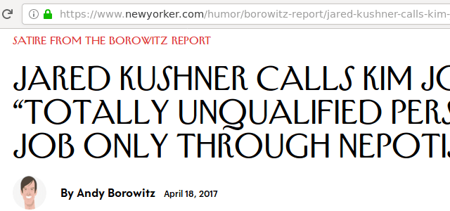 A headline from a website. The title clearly says satire, and the URL contains the word humor