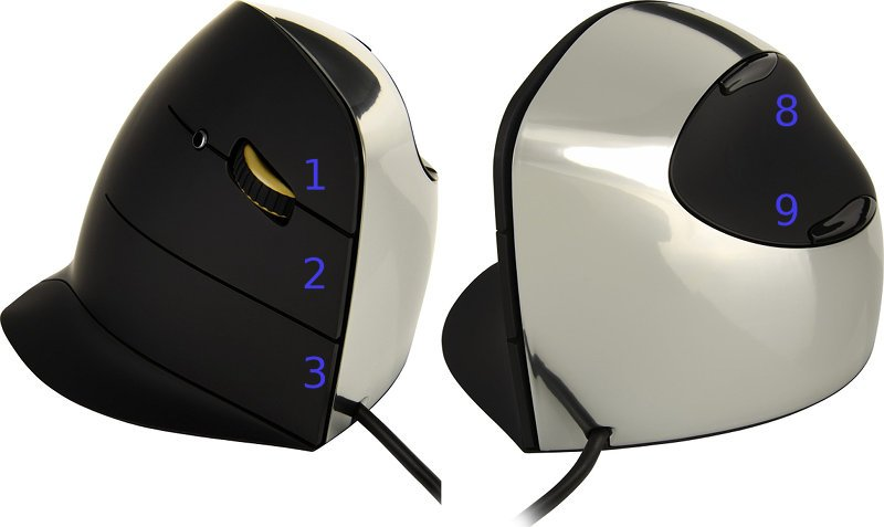 Mouse with multiple buttons.