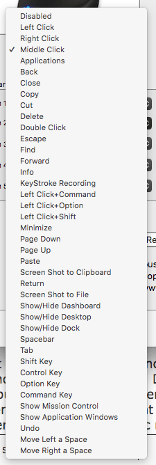 Evoluent Mouse button options on a Mac
