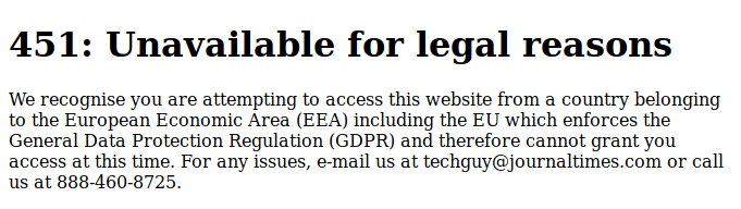 451: Unavailable for legal reasons We recognise you are attempting to access this website from a country belonging to the European Economic Area (EEA) including the EU which enforces the General Data Protection Regulation (GDPR) and therefore cannot grant you access at this time. For any issues, e-mail us at techguy@journaltimes.com or call us at 888-460-8725.