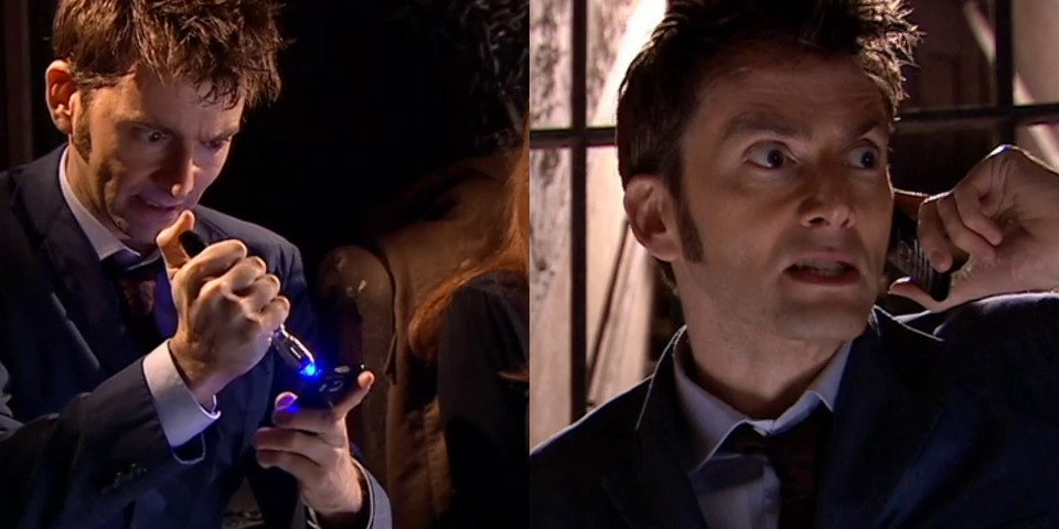 The Doctor holding Donna's phone.