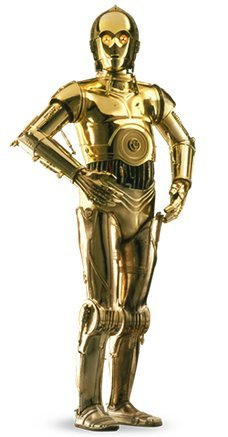 C-3PO is a gold coloured, human shaped robot.