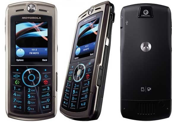 motorola slvr l9 - front, side, and rear view.