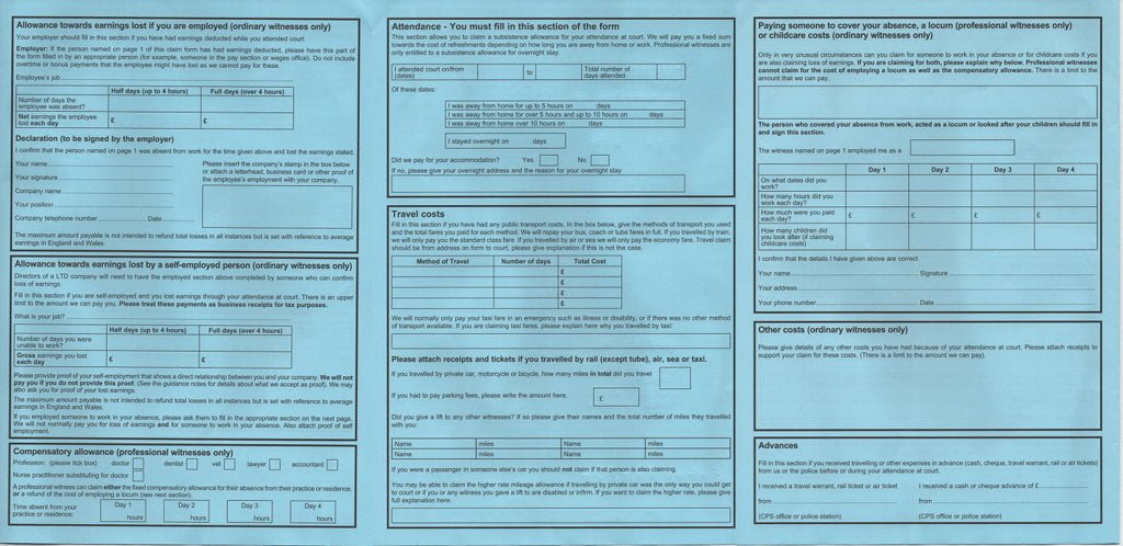 3 page CPS form - lots of little boxes to fill in.