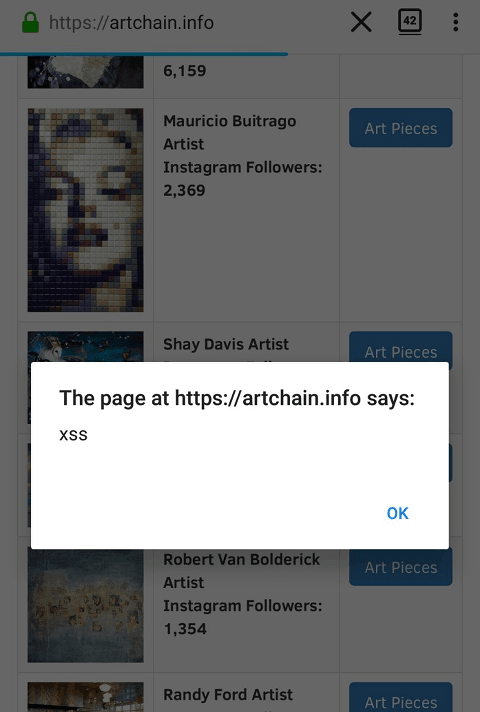 A website with a popup notification.