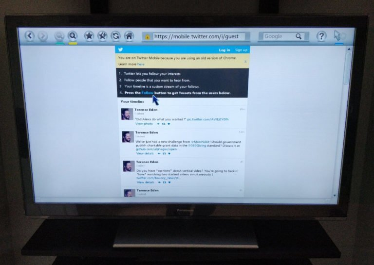 Twitter's guest mode displayed on a TV.